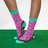 Panther pink green crew socks_