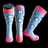 Skisokken Pinguin Blauw/Roze_