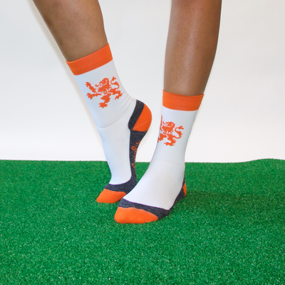 Holland white orange lion crew socks