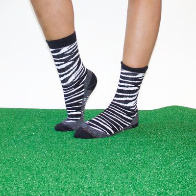 Zebra print crew socks