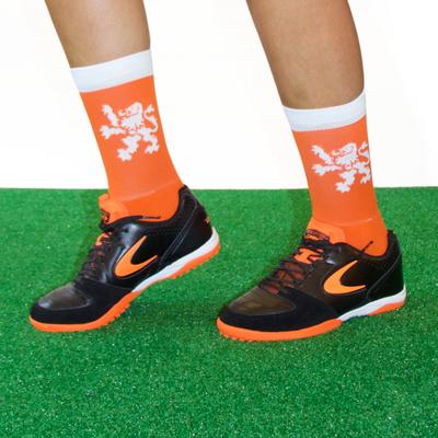 Holland orange white lion crew socks
