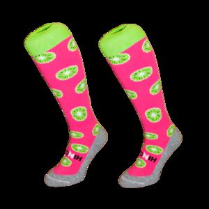 Hockeysokken Kiwi Roze/Groen