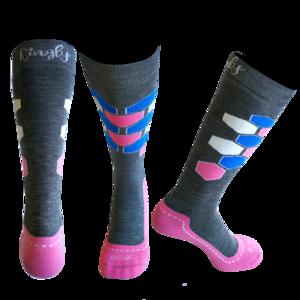 Skisokken Hexagram Grijs/Roze