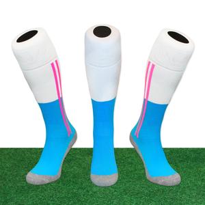 Hockeysokken 2 Stripe Wit/Zeeblauw/Roze