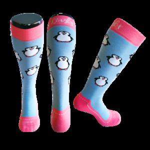 Skisokken Pinguin Blauw/Roze