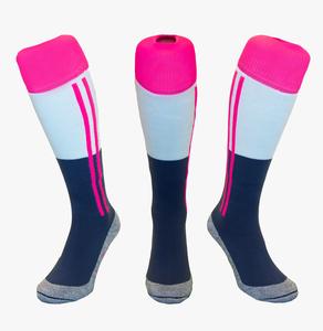 Hockeysokken 2 Stripe Grijsblauw/Roze/Wit