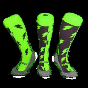 Hockeysokken Bliksem Groen/Grijs