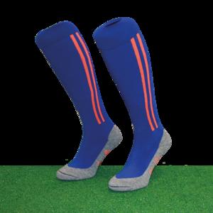 Hockeysokken 2 Stripe Blauw/Oranje